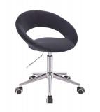 Kosmetická židle NAPOLI VELUR na stříbrné podstavě s kolečky - černá