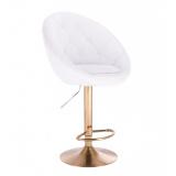 Barová židle VERA na zlatém talíři  - bílá