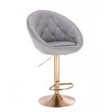 Barová židle VERA na zlatém talíři  - šedá
