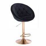 Barová židle VERA VELUR na zlatém talíři - černá