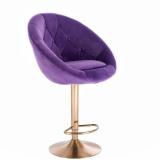 Barová židle VERA VELUR na zlatém talíři - fialová