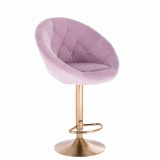 Barová židle VERA VELUR na zlatém talíři - fialový vřes
