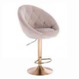 Barová židle VERA VELUR na zlatém talíři - světle šedá