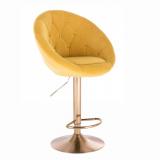 Barová židle VERA VELUR na zlatém talíři - žlutá