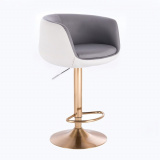 Barová židle MONTANA na zlatém talíři - bílo-šedá