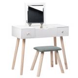 Toaletní stolek ASTRID bílý - zrcadlo - 2 zásuvky + taburet