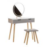Toaletní stolek bílý ANJA W2 - oválné zrcadlo - 2 zásuvky + taburet