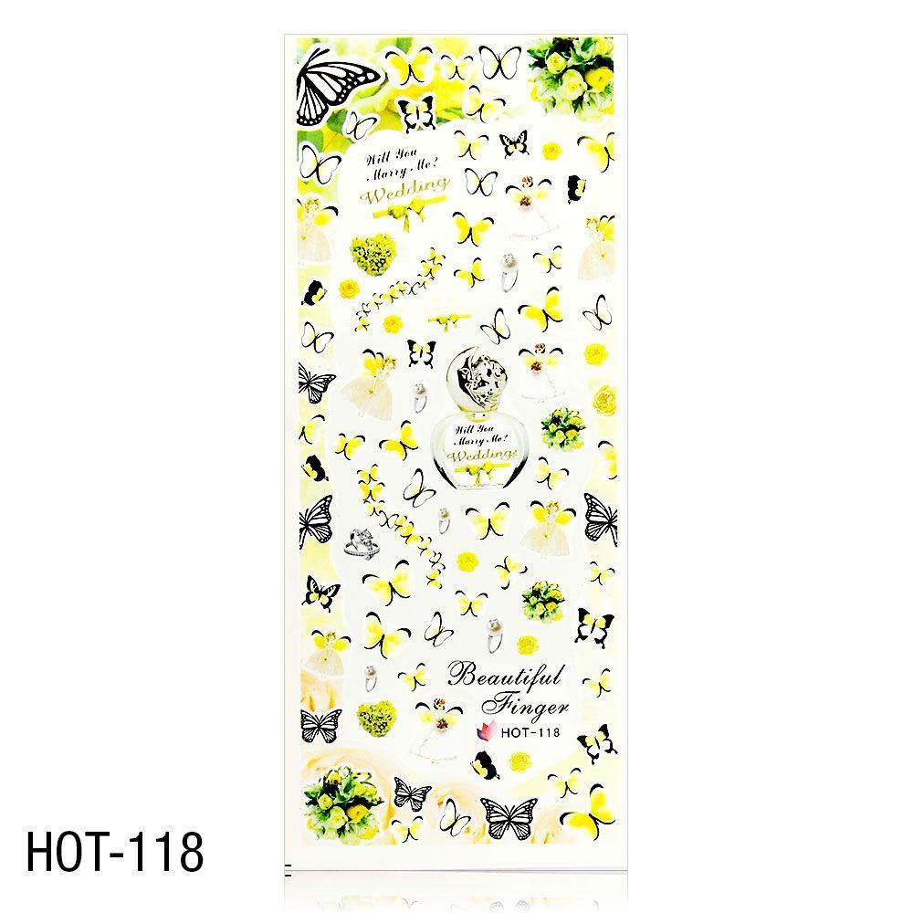 Vodolepky na zdobení nehtů - velký list 12,7 x 5,5cm HOT-118
