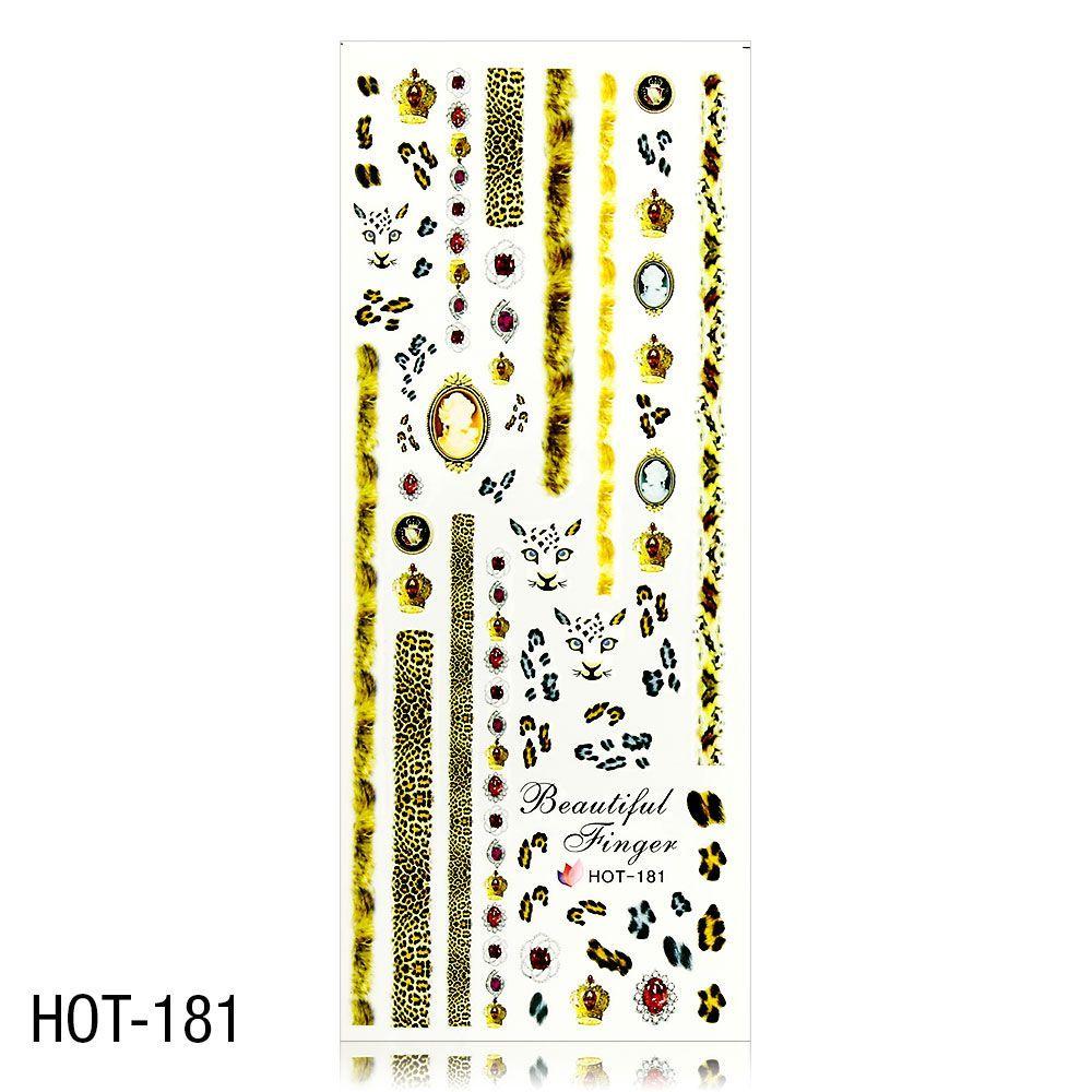 Vodolepky na zdobení nehtů - velký list 12,7 x 5,5cm HOT-181