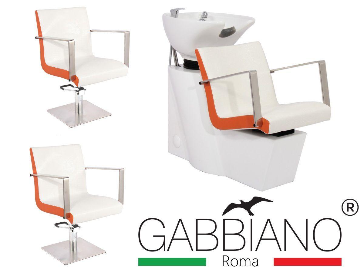 Kadeřnický set 2+1 GABBIANO ROMA bílo-oranžový