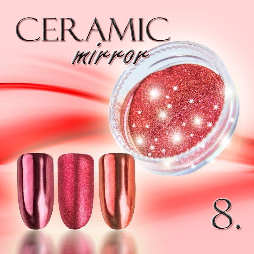 Zdobící prášek na nehty CERAMIC MIRROR 8. Cooper Red
