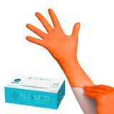 Jednorázové nitrilové rukavice oranžové - velikost M (AS)