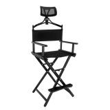 Skládací kosmetická hliníková židle černá