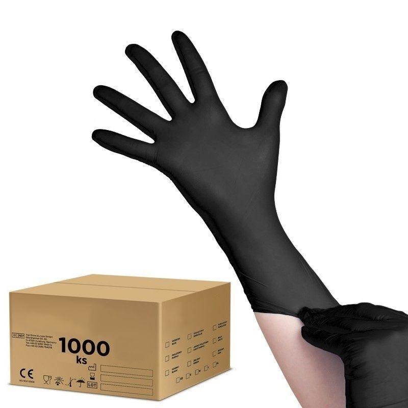 Jednorázové nitrilové rukavice černé - velikost XS - karton 10ks