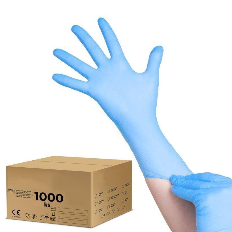 Jednorázové nitrilové rukavice modré - velikost M - karton 10ks
