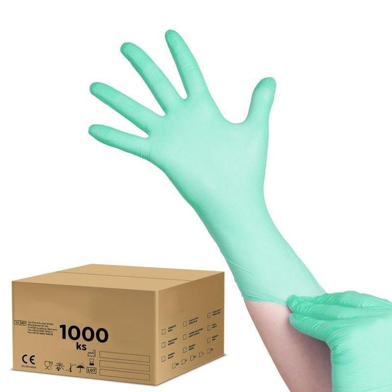 Jednorázové nitrilové rukavice zelené - velikost L - karton 10ks