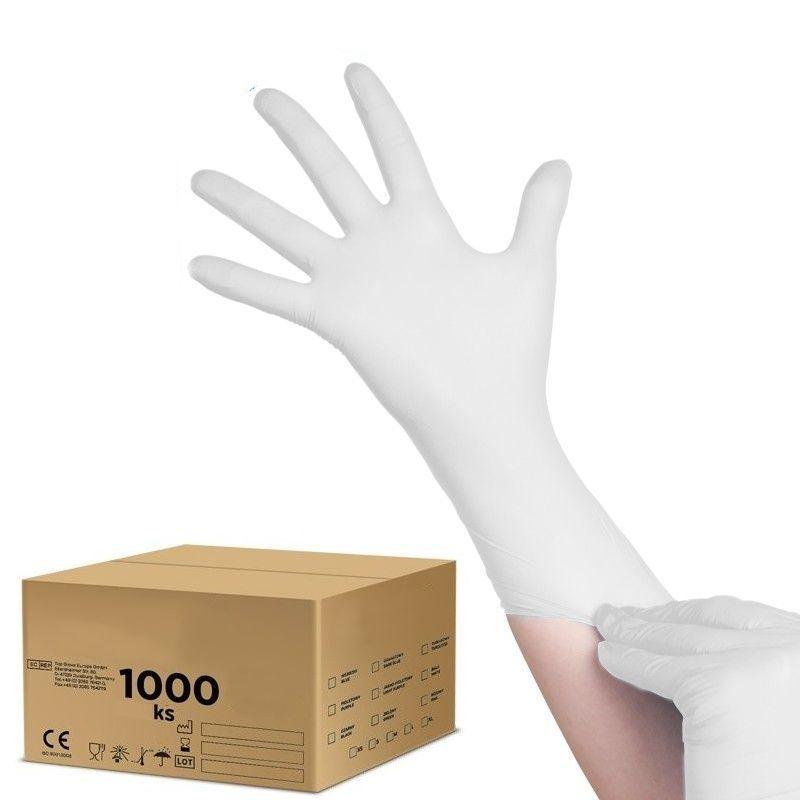 Jednorázové nitrilové rukavice bílé L - karton 10ks