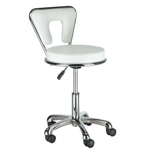 Kosmetická stolička s opěrkou BG-823 bílá