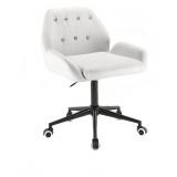 Kosmetická židle LION na černé podstavě s kolečky - bílá