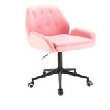 Kosmetická židle LION na černé podstavě s kolečky - růžová