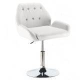 Kosmetická židle LION na stříbrné kulaté podstavě - bílá