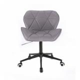 Kosmetická židle MILANO na černé podstavě s kolečky šedá