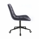Kosmetická židle PARIS na černé podstavě s kolečky - černá