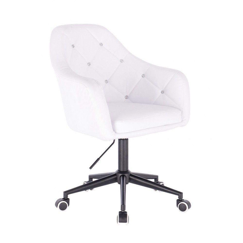 Kosmetická židle ROMA na černé podstavě s kolečky - bílá