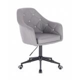 Kosmetická židle ROMA na černé podstavě s kolečky - šedá