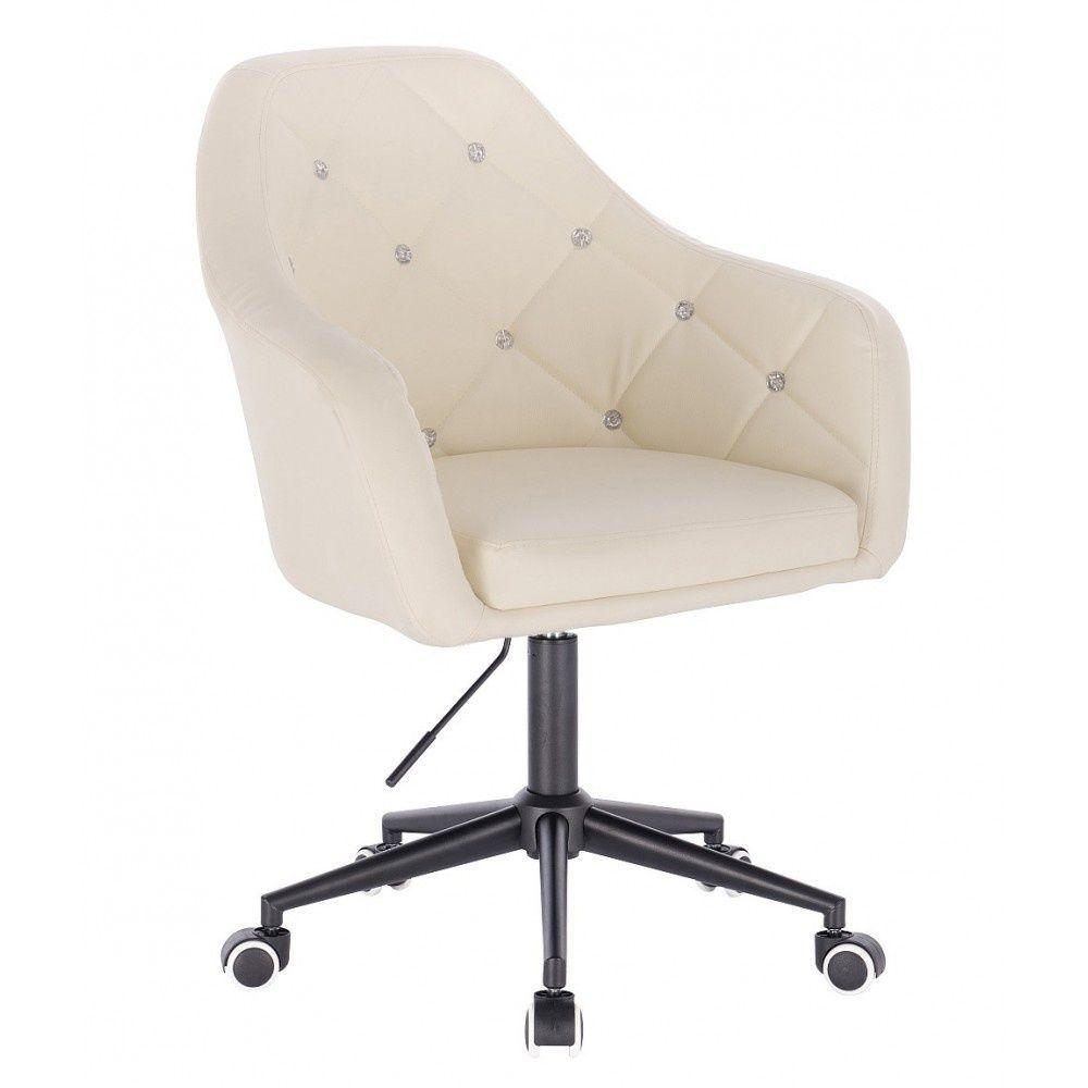 Kosmetická židle ROMA na černé podstavě s kolečky -  krémová