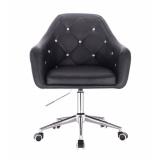 Kosmetická židle ROMA na podstavě s kolečky - černá