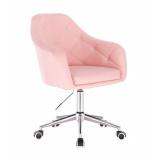Kosmetická židle ROMA na stříbrné podstavě s kolečky - růžová