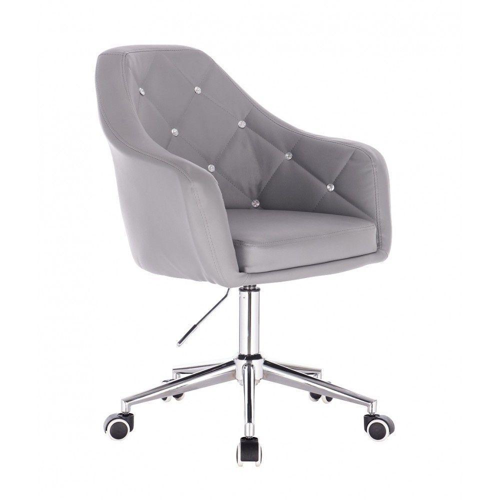 Kosmetická židle ROMA na stříbrné podstavě s kolečky - šedá