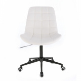 Kosmetická židle HR590 na černé podstavě s kolečky - bílá