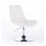 Kosmetická židle PARIS na kulaté podstavě bílá