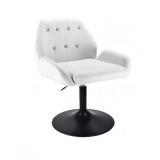 Kosmetická židle LION na černém talíři - bílá