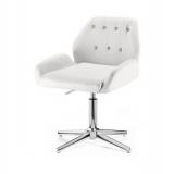 Kosmetická židle LION na stříbrném kříži - bílá