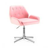 Kosmetická židle LION na stříbrném kříži - růžová