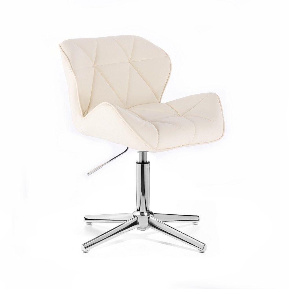 Kosmetická židle MILANO na stříbrném kříži - krémová