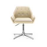 Kosmetická židle LION na stříbrném kříži - krémová