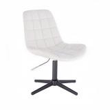 Kosmetická židle PARIS na černém kříži - bílá