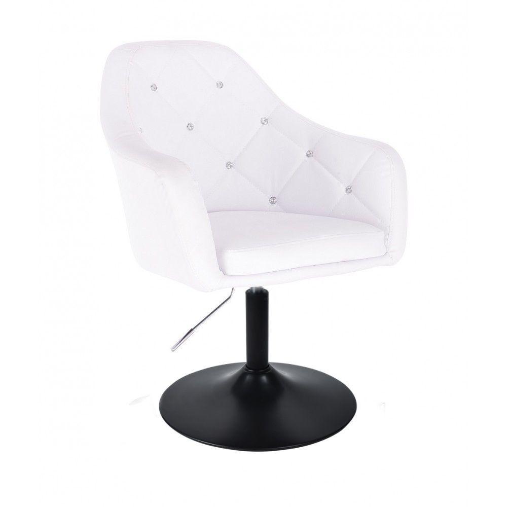 Kosmetická židle ROMA na černé kulaté podstavě - bílá