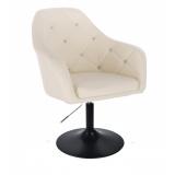 Kosmetická židle ROMA na černé kulaté podstavě - krémová
