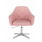 Kosmetická židle ROMA na stříbrném kříži - růžová