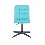 Kosmetická židle TOLEDO na černém kříži - tyrkysová