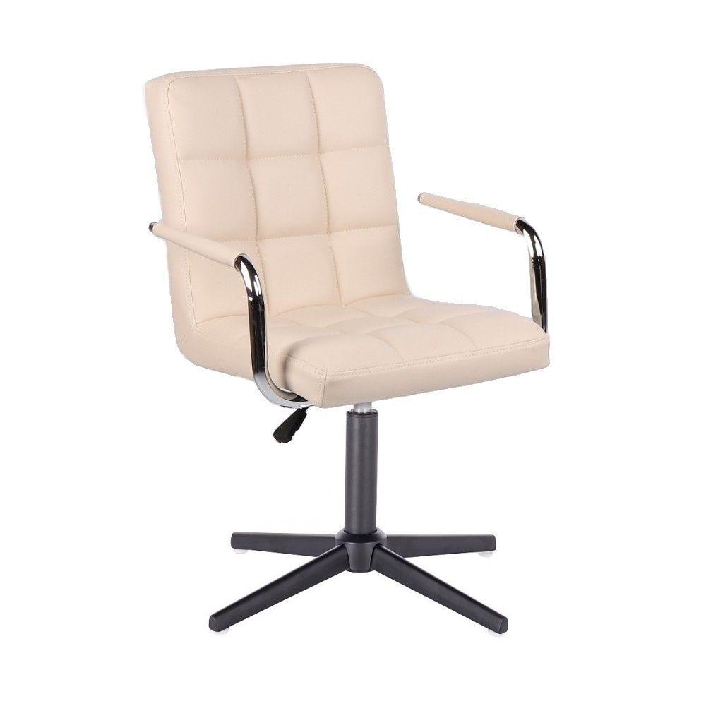 Kosmetická židle VERONA na černém kříži - krémová