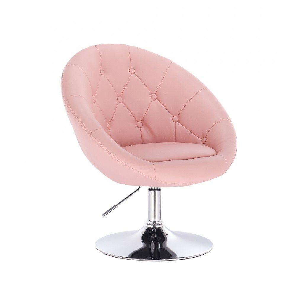 Kosmetické křeslo VERA na stříbrném talíři - růžové