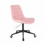 Kosmetická židle HC590 na černé podstavě s kolečky - růžová
