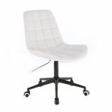 Kosmetická židle HC590 na černé podstavě s kolečky - bílá