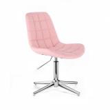 Kosmetická židle HC590 na stříbrném kříži - růžová